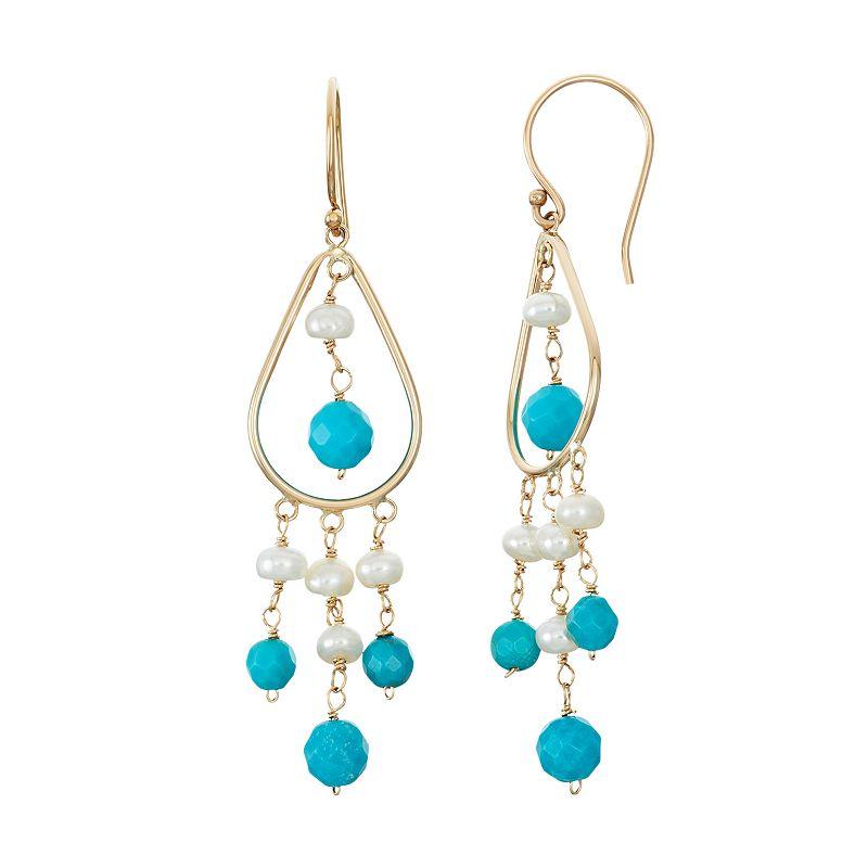 14k Gold Turquoise & Freshwater Cultured Pearl Chandelier Earrings