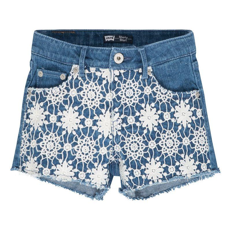 Girls 4-6x Levi's Floral Lace Stretch Denim Shorts