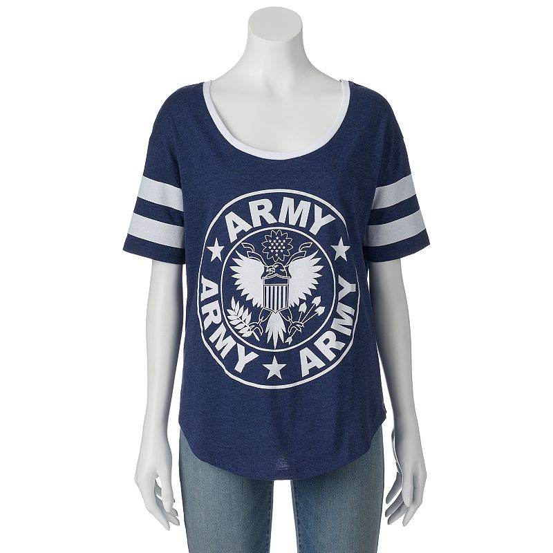 Juniors' High-Low Army Logo Graphic Tee