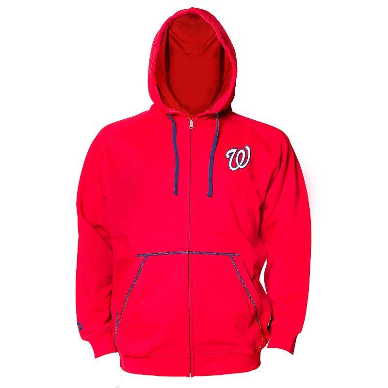 Big & Tall Majestic Washington Nationals Full-Zip Fleece Hoodie