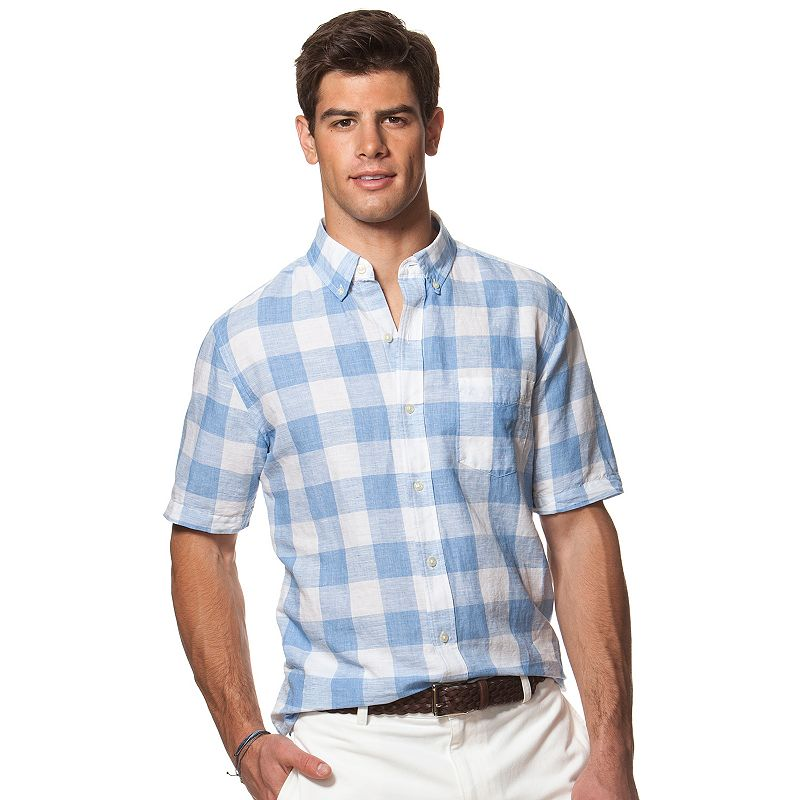 Men's Chaps Classic-Fit Checked Linen-Blend Button-Down Shirt
