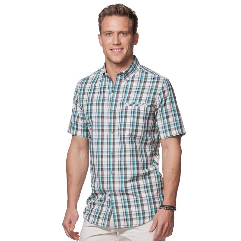 Men's Chaps Classic-Fit Plaid Performance Button-Down Shirt
