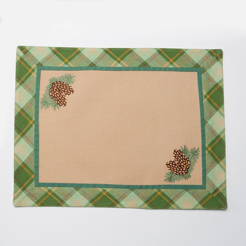 Celebrate Local Life Together Plaid Pine Cone Placemat