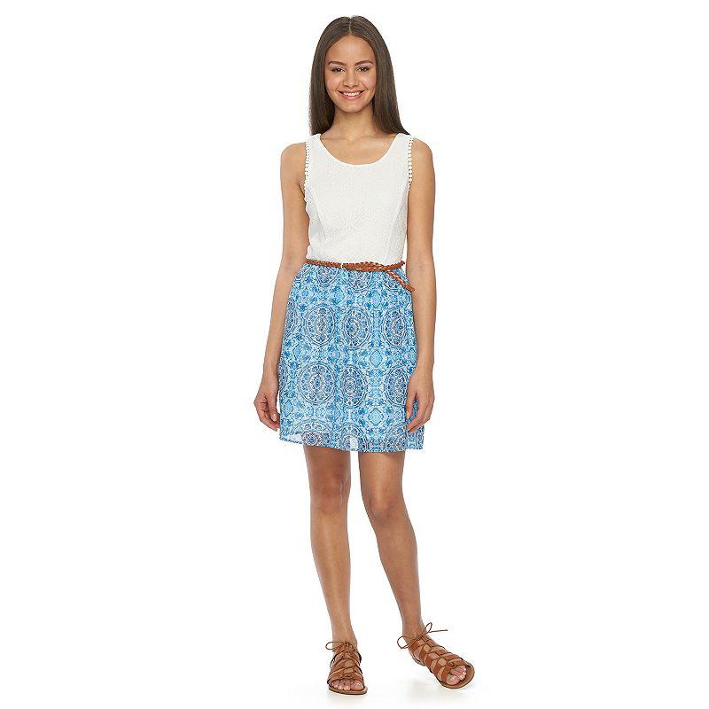 Juniors' Lily Rose Lace & Print Skater Dress