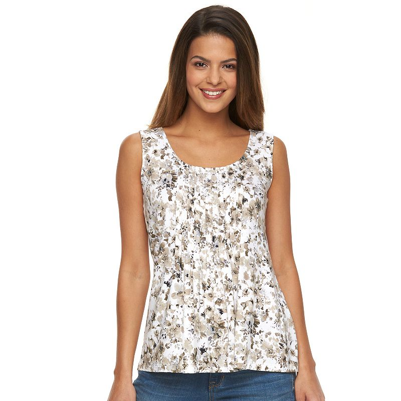 Petite Croft & Barrow® Print Pintuck Tank