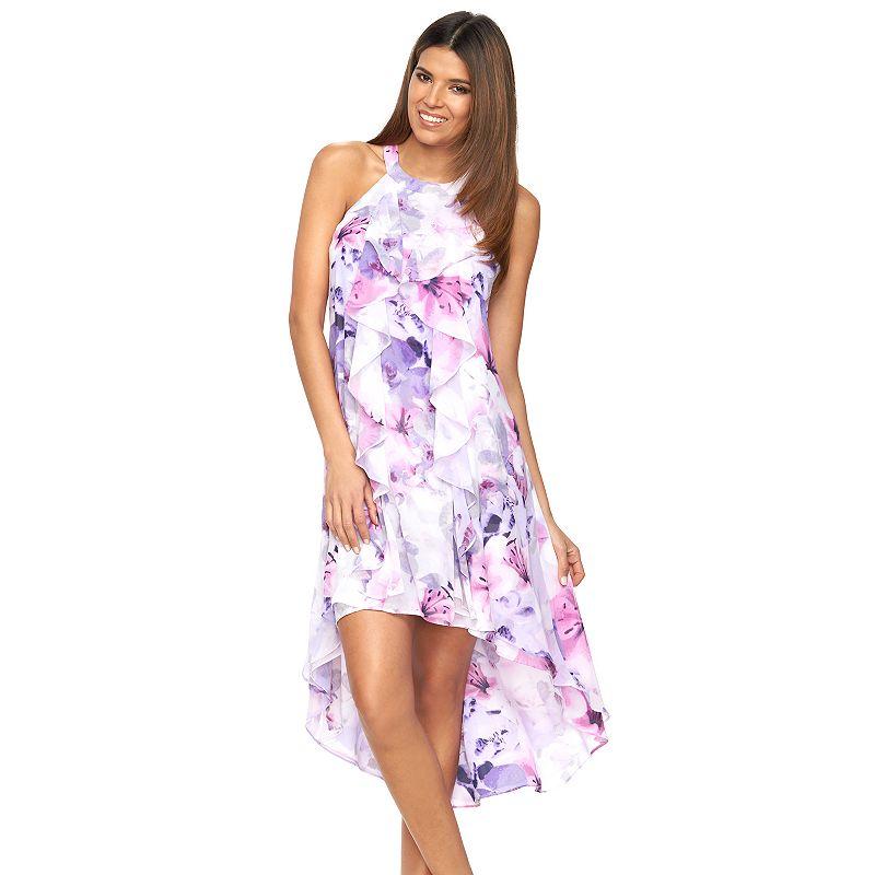 Petite Jennifer Lopez Floral High-Low Halter Dress