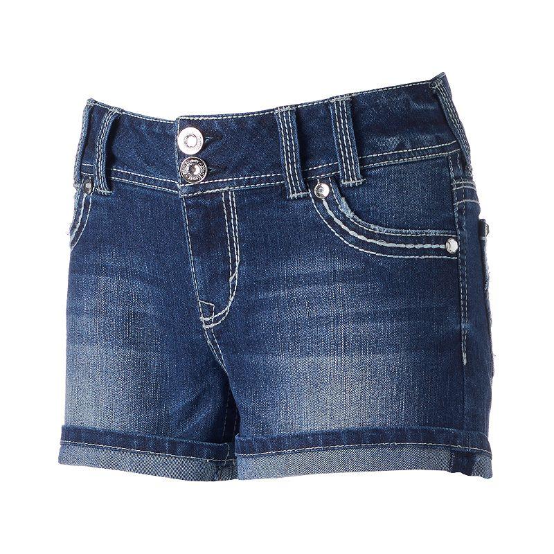 Juniors' Wallflower Curvy Star Sequin Denim Shortie Shorts