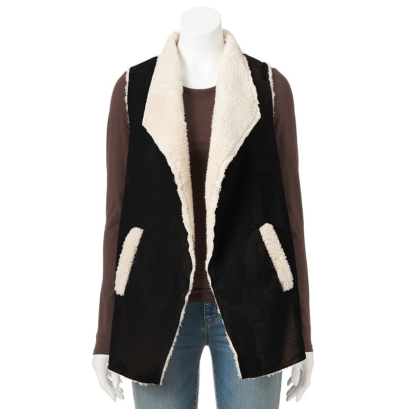 Women's French Laundry Faux-Suede Sherpa Vest