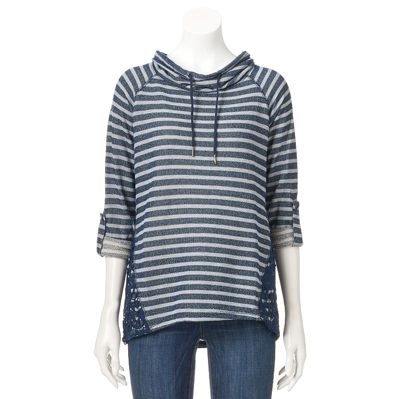 Women's French Laundry Striped Cowlneck Sweatshirt