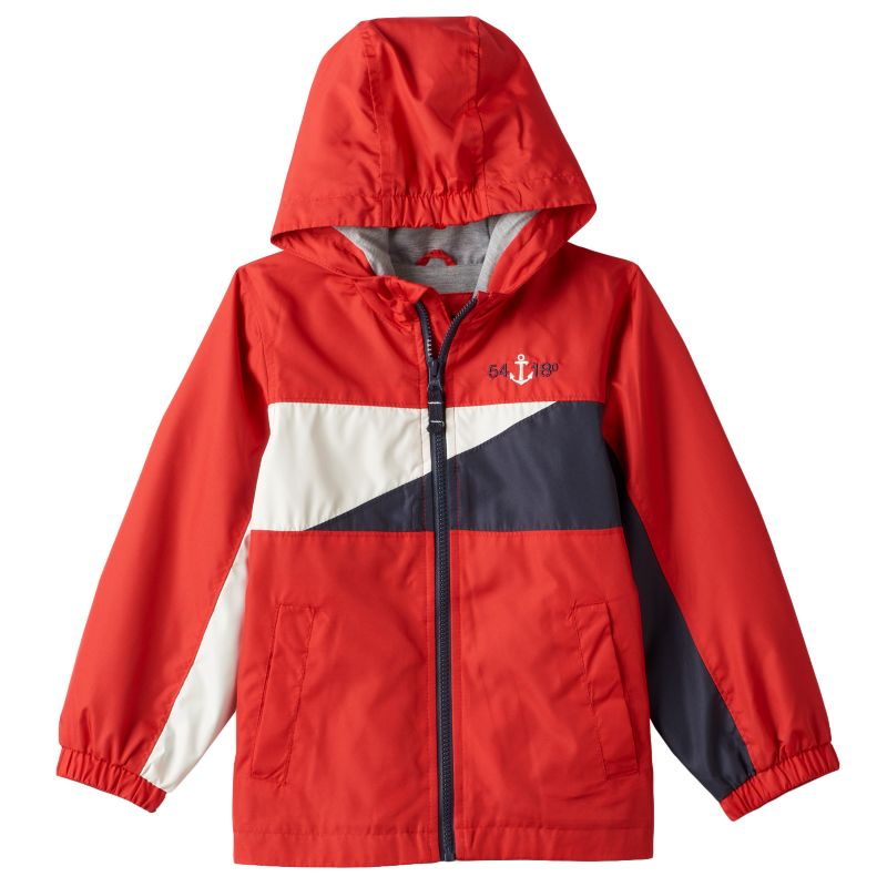 Toddler Boy London Fog Colorblocked Jersey-Lined Hooded Jacket, Size: 2T, Red