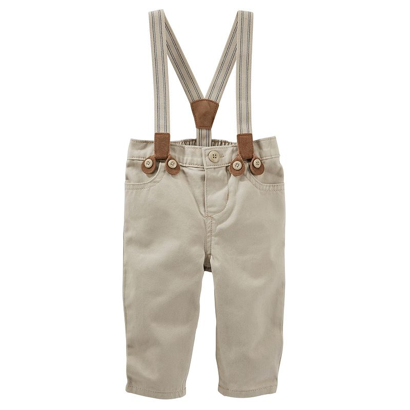 Baby Boy OshKosh B'gosh® Khaki Suspender Pants