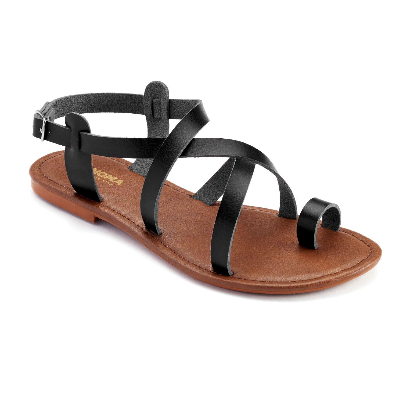 Sonoma Goods for Life Women's Gladiator Sandals - Black / Cognac