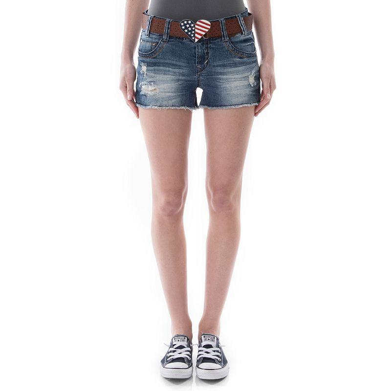 Juniors' Wallflower Curvy Patriotic Heart Denim Shorts