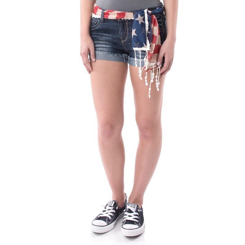 Juniors' Wallflower Patriotic Cutoff Denim Shorts