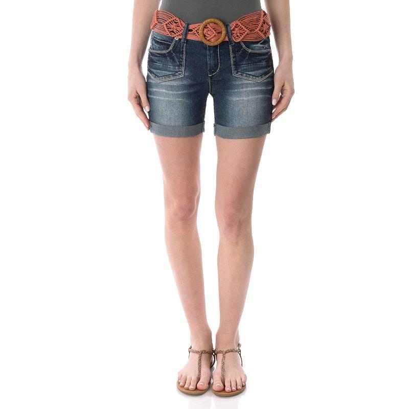Juniors' Wallflower Embroidered Denim Midi Shorts