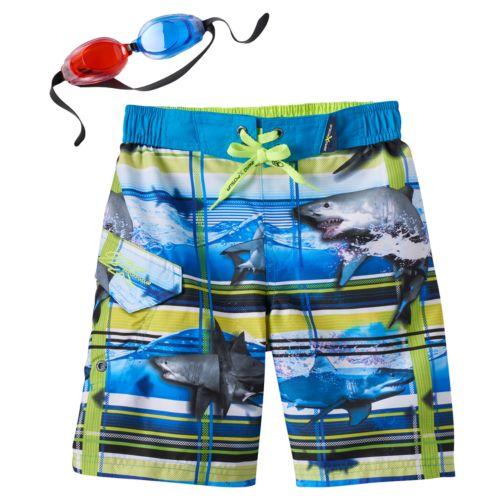 Boys 4-7 ZeroXposur 3D Shark Plaid Swim Trunks with Goggles