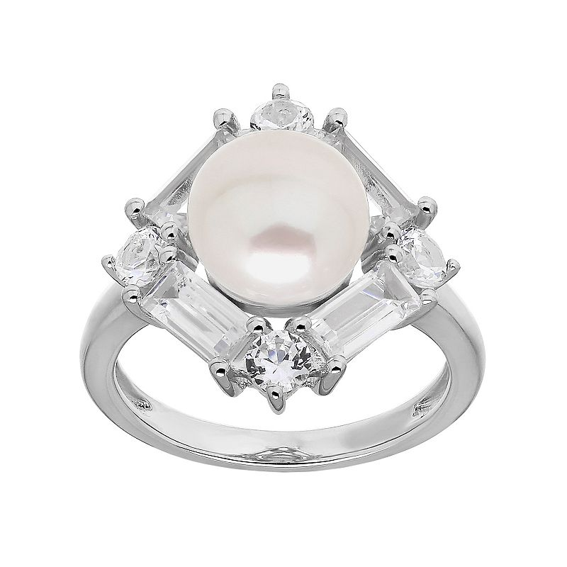 Simply Vera Vera Wang Sterling Silver Freshwater Cultured Pearl & Lab-Created White Sapphire Halo Ring