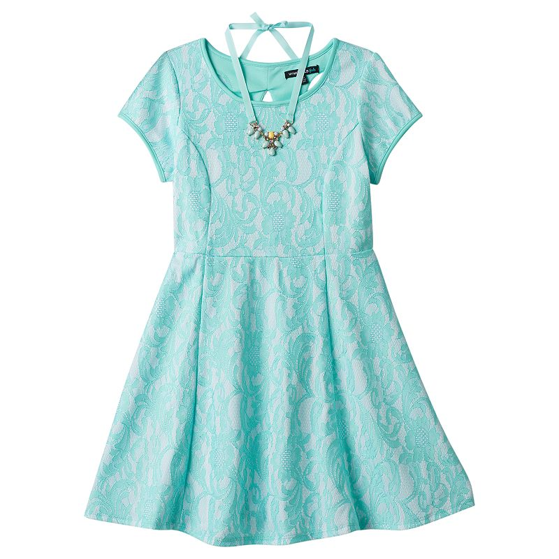 Girls 7-16 My Michelle Lace Skater Dress