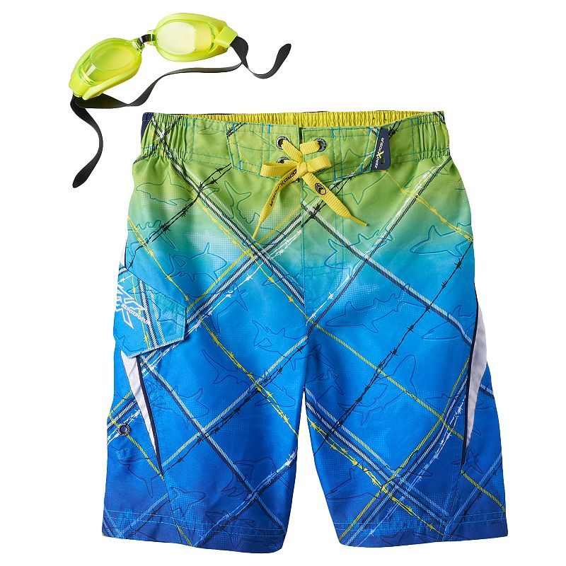 Boys 4-7 ZeroXposur Ombre Barbed Wire Shark Swim Trunks with Goggles
