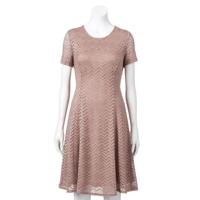 Women's Expo Lace Chevron Fit & Flare Dress