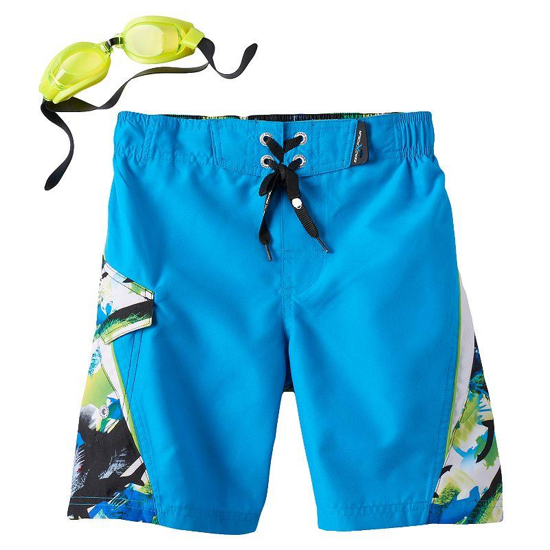 Boys 4-7 ZeroXposur Camouflage Shark Swim Trunks with Goggles