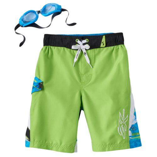 Boys 4-7 ZeroXposur Watercolor Hibiscus Swim Trunks with Goggles