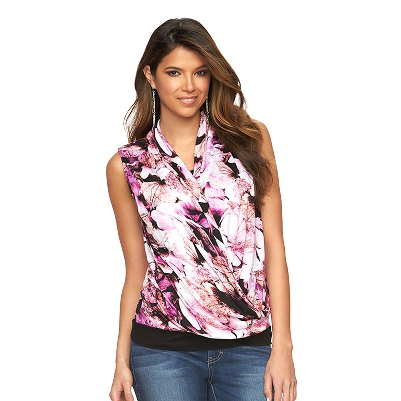 Women's Jennifer Lopez Print Mock-Layer Draped Tank