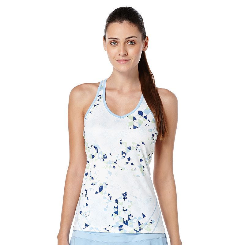 Women's Grand Slam Geo Print V-Neck Racerback Tennis Tank
