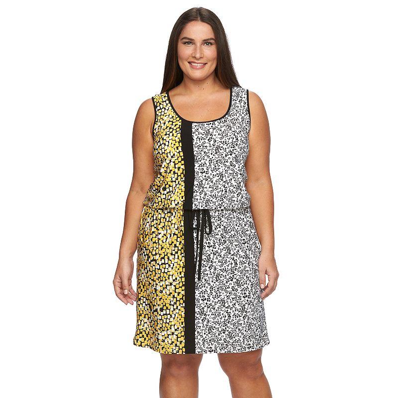 Plus Size Suite 7 Floral Drawstring Blouson Dress