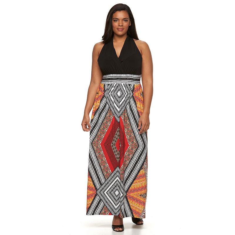 Plus Size Suite 7 Geometric Empire Maxi Dress