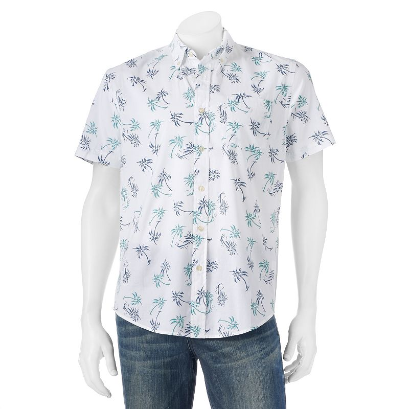 Men's SONOMA Goods for Life™ Classic-Fit Palm Tree Poplin Button-Down Shirt
