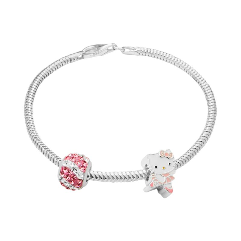 Hello Kitty Charm, Crystal Bead & Bracelet Set, Women's, Size: 7.5\