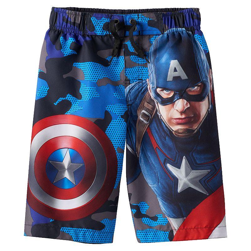 Boys 4-7 Marvel Avengers Captain America Swim Trunks
