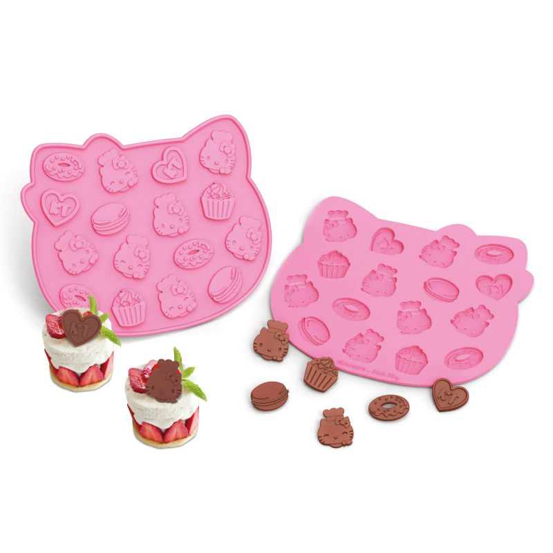 Siliconezone Hello Kitty Nonstick Aluminum Chocolate Chip Mold, Pink