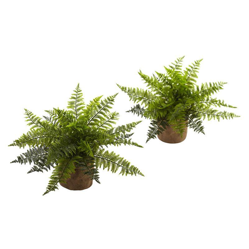 nearly natural Artificial Ruffle Fern Plant 2-piece Set, Green thumbnail
