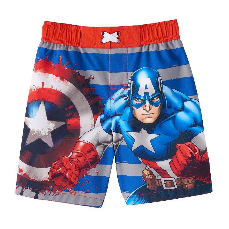 Toddler Boy Marvel Captain America Swim Trunks