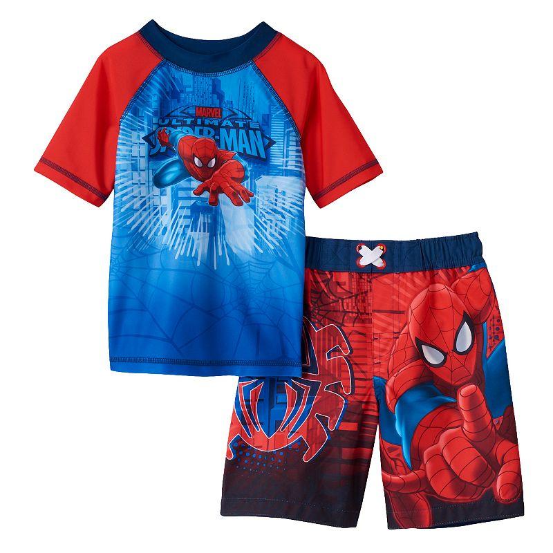 Toddler Boy Marvel Spiderman Rashguard & Swim Trunks Set