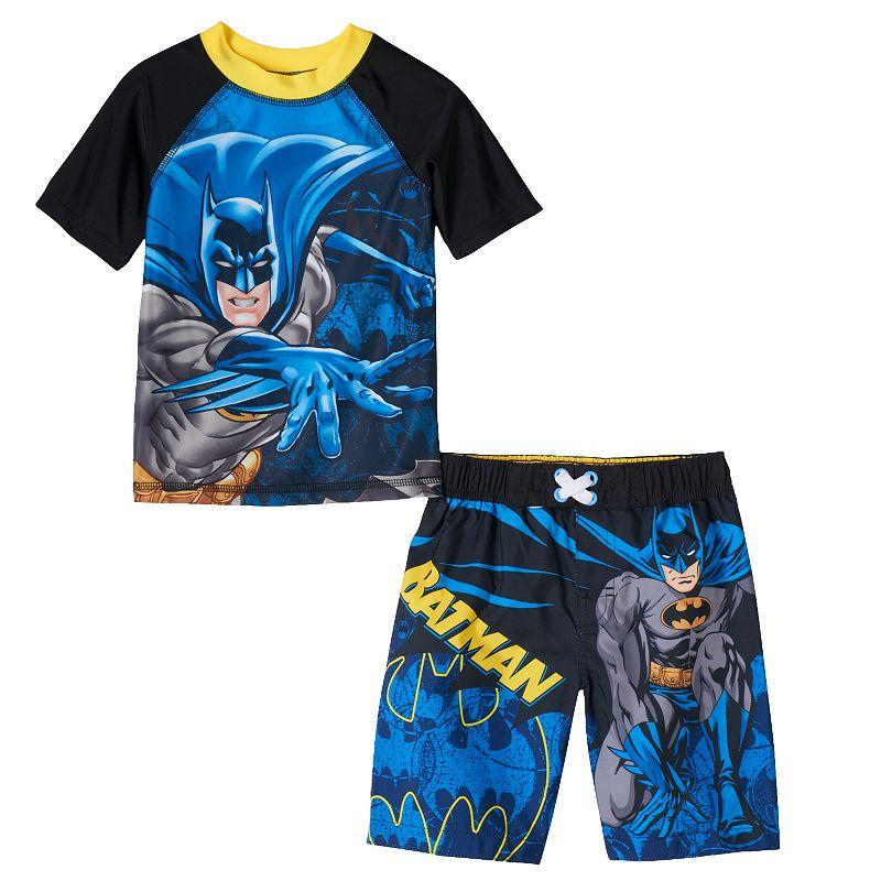 Toddler Boy DC Comics Batman Rashguard & Swim Trunks Set