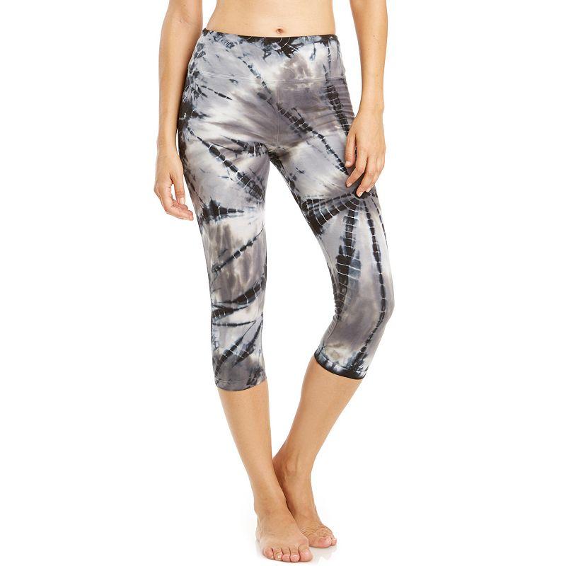 Women's Balance Collection Tie-Dye Flat Waist Capri Workout Leggings