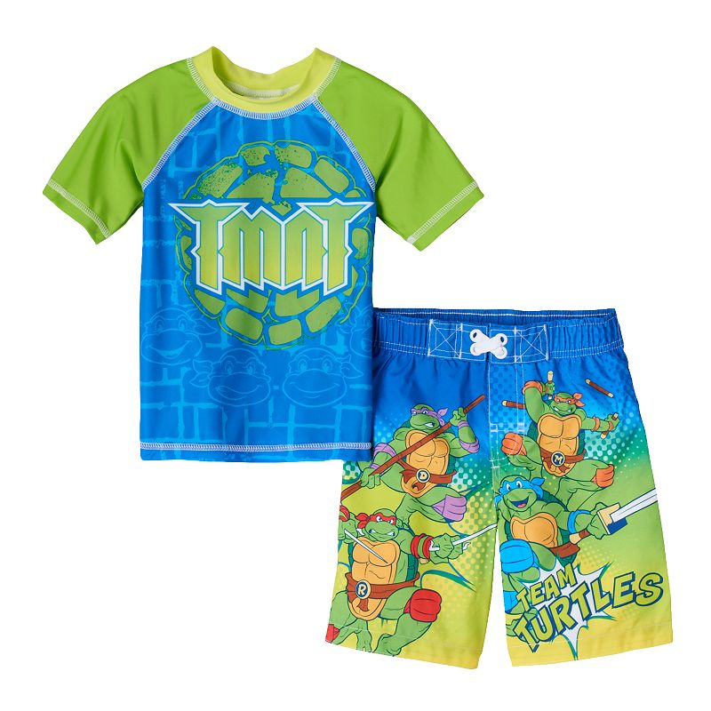 Toddler Boy Teenage Mutant Ninja Turtles Rashguard & Swim Trunks Set