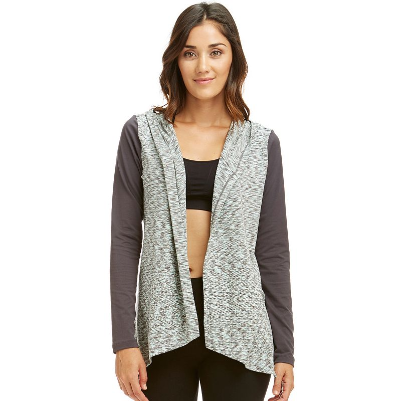 Women's Balance Collection Hooded Space-Dye Open-Front Cardigan