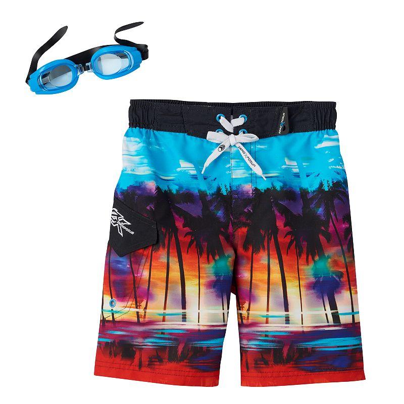 Boys 4-7 ZeroXposur Palm Tree Swim Trunks with Goggles