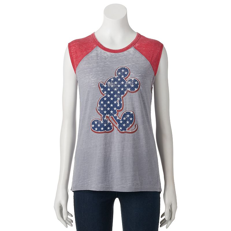 Disney's Mickey Mouse Juniors' Patriotic Burnout Muscle Tee
