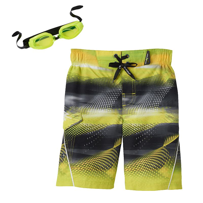 Boys 4-7 ZeroXposur Abstract Wave Swim Trunks with Goggles