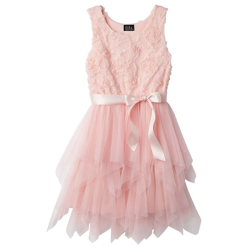 Girls Plus Size lilt Rosette Soutache Dress