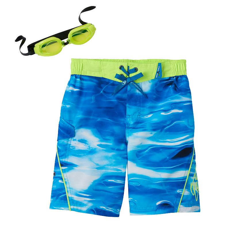Boys 4-7 ZeroXposur Shark Wave Swimtrunks with Goggles