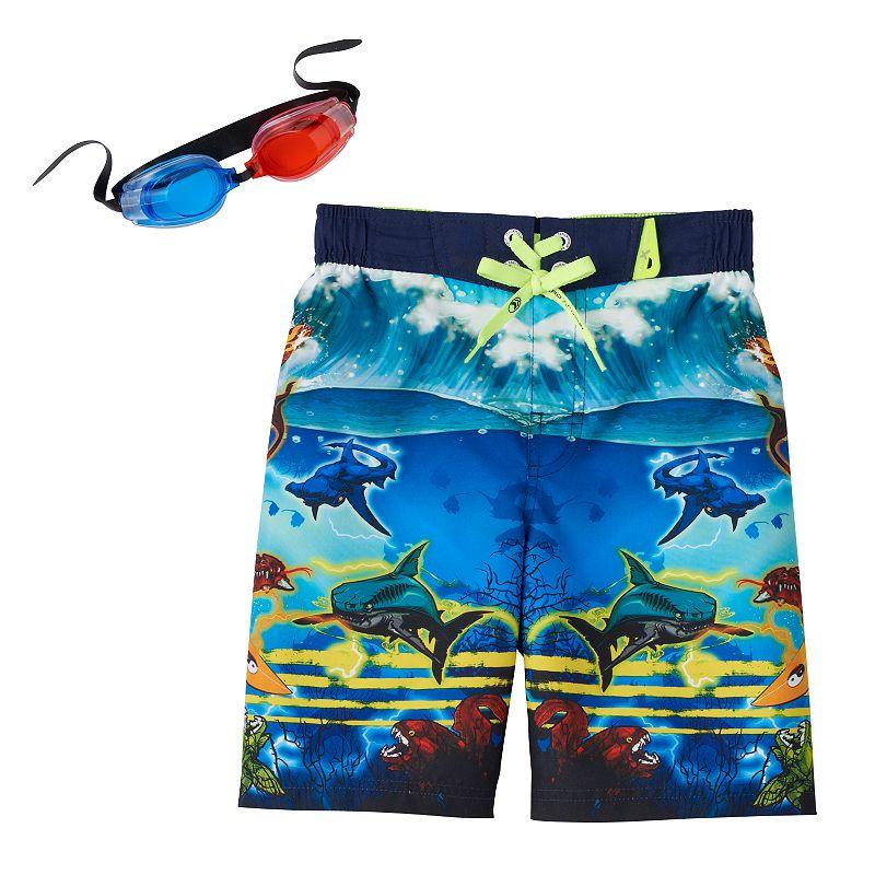 Boys 4-7 ZeroXposur Dragon Surfer Swim Trunks with Goggles