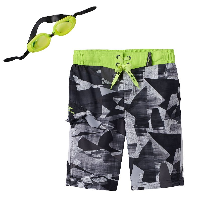 Boys 4-7 ZeroXposur Abstract Camouflage Swim Trunks with Goggles