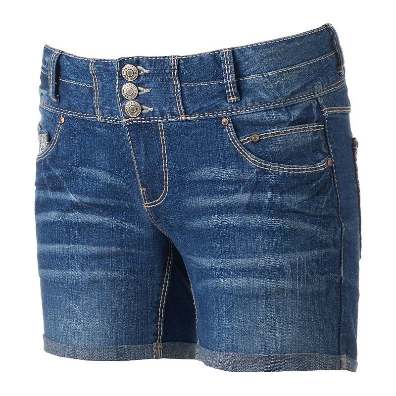 Juniors' Amethyst Button Fly Midi Shorts