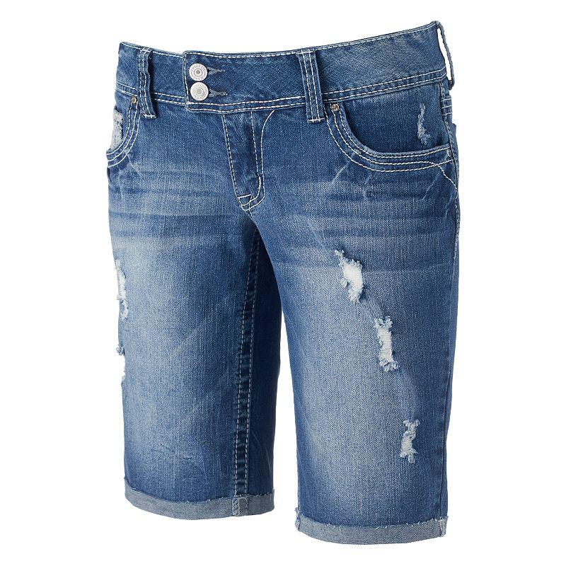 Juniors' Amethyst Destructed Bermuda Shorts